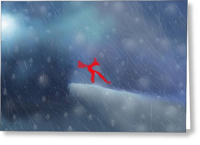 Roadway Paintings Greeting Cards - Red Bow in the Wind Greeting Card by Kume Bryant