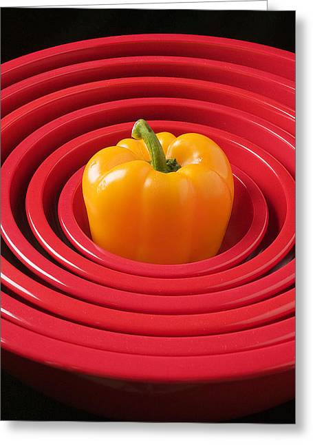 Kitchenware Greeting Cards - Red bowls and pepper Greeting Card by Garry Gay
