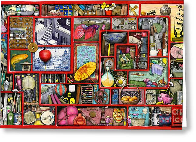 Coloured Greeting Cards - Red Box Greeting Card by Colin Thompson