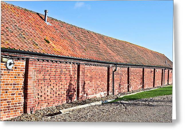 Red Roofed Barn Greeting Cards - Red brick bard Greeting Card by Tom Gowanlock