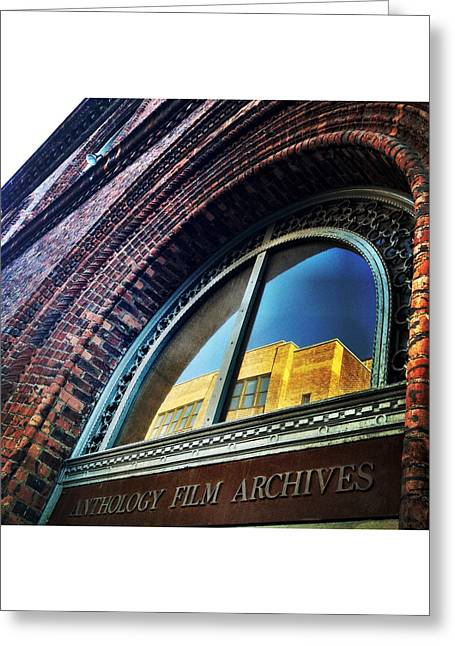 Anthology Film Archives Greeting Cards - Red Brick Reflection Greeting Card by Natasha Marco