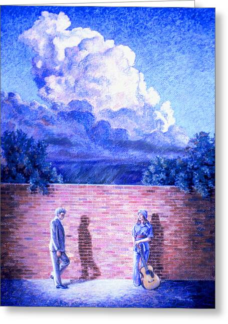 Brick Pastels Greeting Cards - Red Brick Wall Greeting Card by Dan Terry