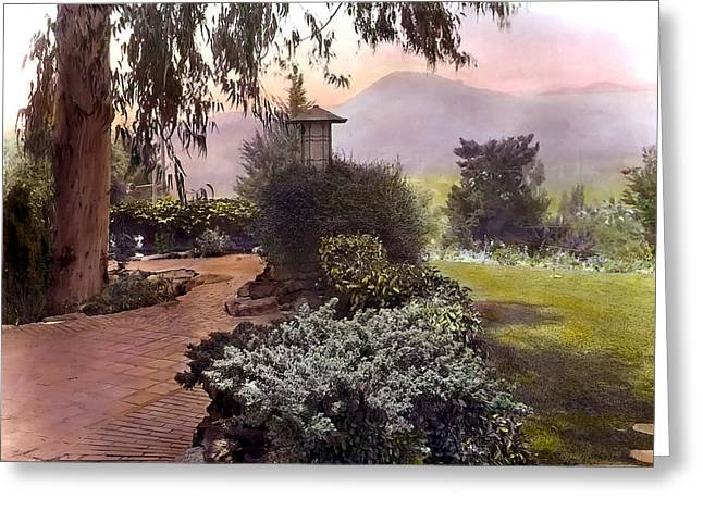 Kinkade Greeting Cards - Red Bricks and Violet Mountain Greeting Card by Terry Reynoldson