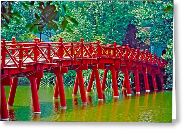 Olive Green Greeting Cards - Red Bridge in Hanoi Vietnam Greeting Card by Matthew Bamberg