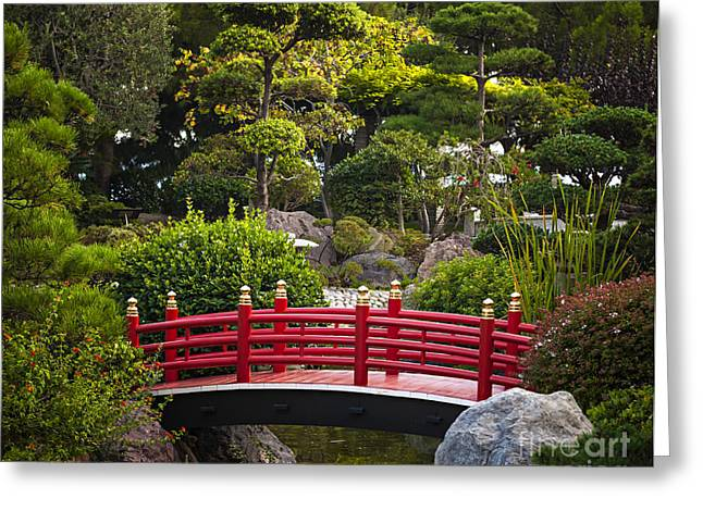 Japanese Photographs Greeting Cards - Red bridge in Japanese garden Greeting Card by Elena Elisseeva