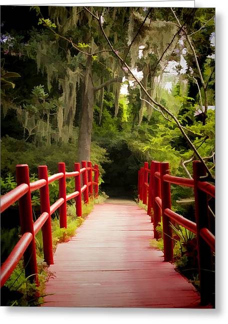 Moss Greeting Cards - Red Bridge in Southern Plantation Greeting Card by David Smith