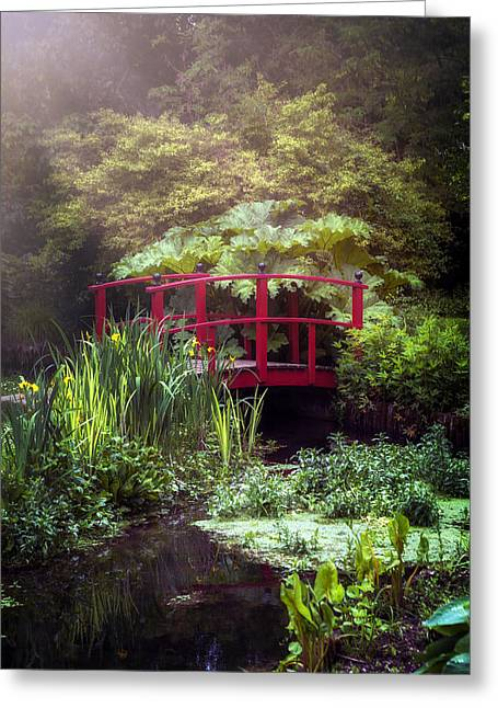 Green Fantasy Greeting Cards - Red Bridge Greeting Card by Joana Kruse
