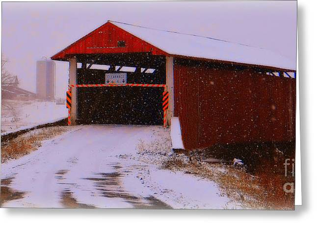 November Framed Prints Greeting Cards - Red Bridge Greeting Card by Mike Griffiths