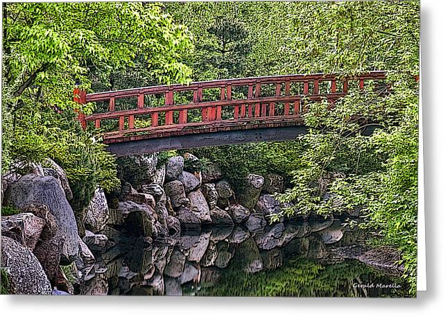 Reflections In River Greeting Cards - Red Bridge over creek Greeting Card by Gerald Marella