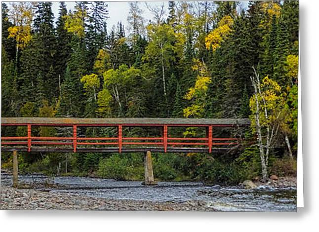 Covered Bridge Greeting Cards - Red Bridge Over Poplar River Greeting Card by Marvil LaCroix