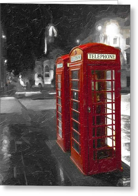 Telephone Booth Greeting Cards - Red British Phone Box on the Streets of Edinburgh Greeting Card by Mark E Tisdale