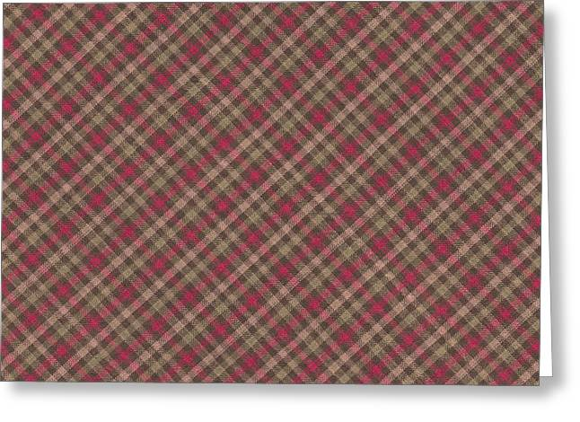 Green Design Greeting Cards - Red Brown And Green Diagonal Plaid Pattern Fabric Background Greeting Card by Keith Webber Jr