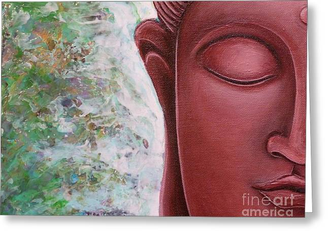 Gayle Utter Greeting Cards - Red Buddha Greeting Card by Gayle Utter