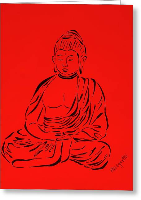 Chanting Greeting Cards - Red Buddha Greeting Card by Pamela Allegretto