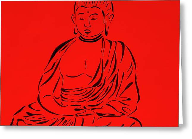 Red Buddha Greeting Card by Pamela Allegretto