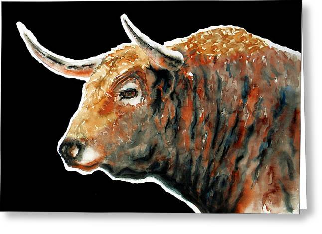 Unique Art Drawings Greeting Cards - Red Bull In Black Greeting Card by Jose Espinoza