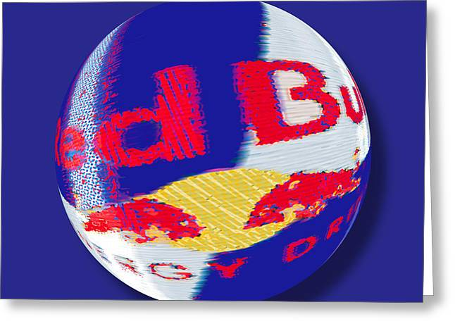 Labeling Mixed Media Greeting Cards - Red Bull Orb Greeting Card by Tony Rubino