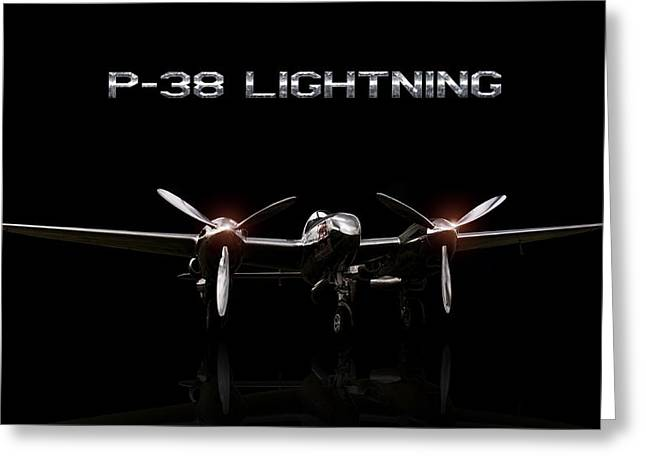 P-38 Greeting Cards - Red Bull P-38 Greeting Card by Peter Chilelli