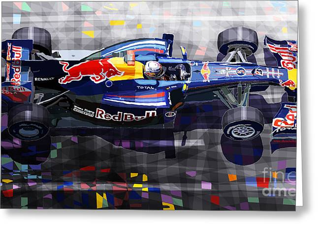 Racing Car Greeting Cards - Red Bull RB6 Vettel 2010 Greeting Card by Yuriy  Shevchuk