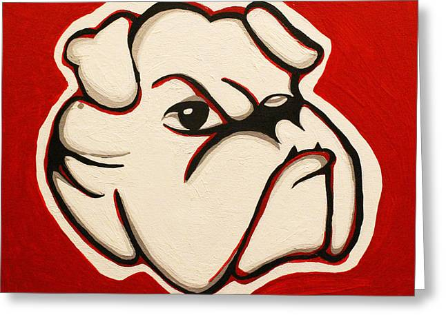 Fanatic Paintings Greeting Cards - Red Bulldawg Greeting Card by Brandy Nicole Neal