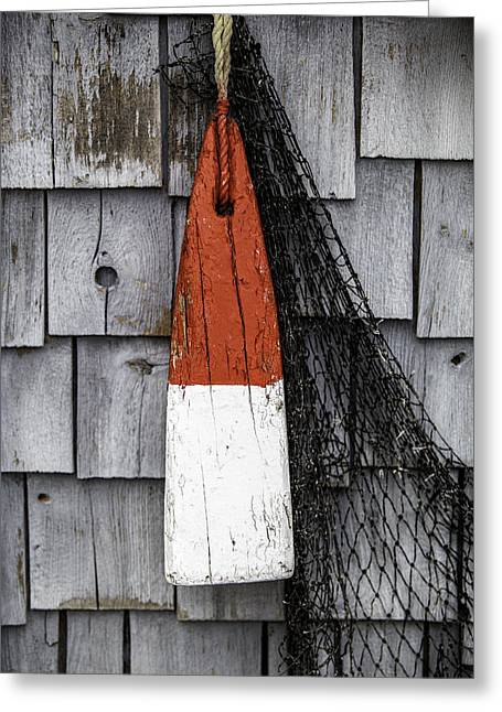 Maine Farmhouse Greeting Cards - Red Buoy Greeting Card by Rafael Macias