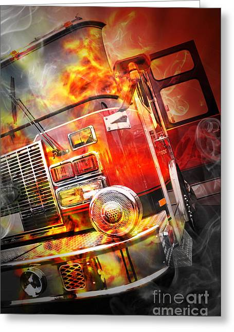 Red Burning Fire Rescue Truck With Flames Greeting Card by Angela Waye