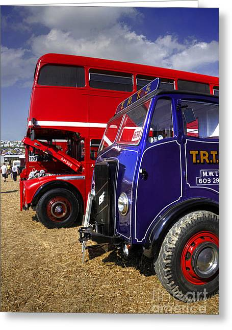 Erf Greeting Cards - Red bus blue lorry Greeting Card by Rob Hawkins