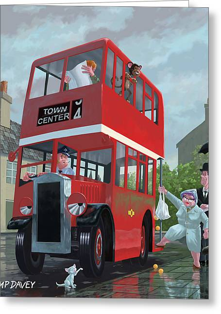 Queue Greeting Cards - Red Bus Stop Queue Greeting Card by Martin Davey
