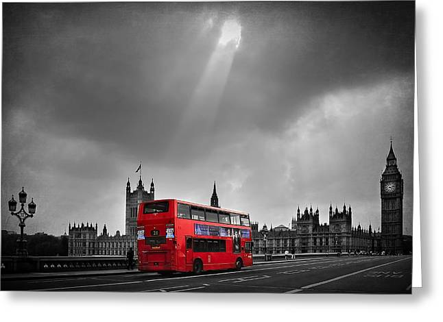 Clock Greeting Cards - Red Bus Greeting Card by Svetlana Sewell