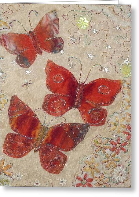 Orange Tapestries - Textiles Greeting Cards - Red Butterflies Greeting Card by Hazel Millington