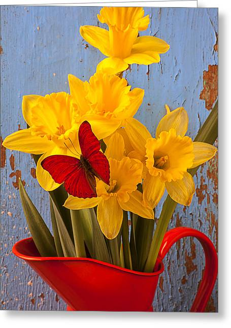 Antenna Greeting Cards - Red Butterfly On Daffodils Greeting Card by Garry Gay