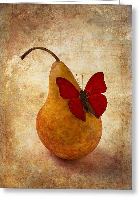 Edible Greeting Cards - Red Butterfly On Pear Greeting Card by Garry Gay