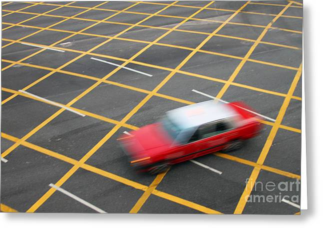 Yellow Line Photographs Greeting Cards - Red Cab in Hong Kong Greeting Card by Lars Ruecker