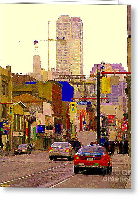Street Scenes Greeting Cards - Red Cab On Gerrard Chinatown Morning Toronto City Scape Paintings Canadian Urban Art Carole Spandau Greeting Card by Carole Spandau