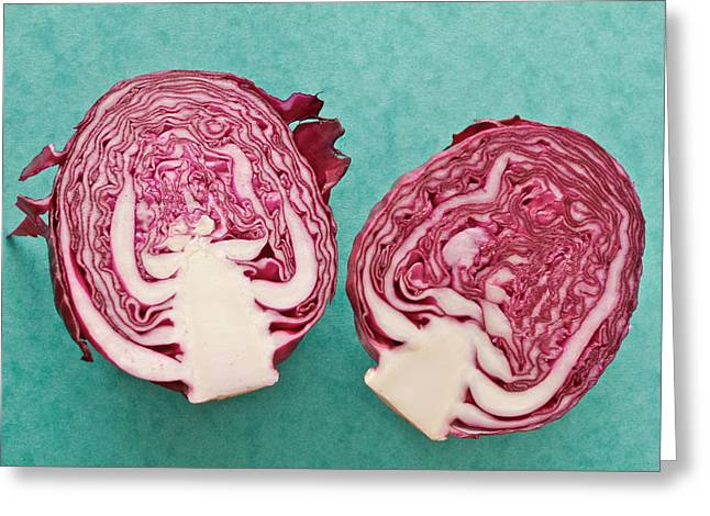 Fresh Green Greeting Cards - Red cabbage Greeting Card by Tom Gowanlock