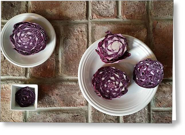 Unprepared Greeting Cards - Red Cabbage upon Bricks Greeting Card by Mark Victors