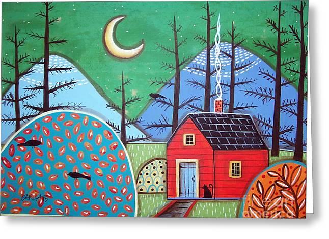 Folk Art Prints Greeting Cards - Red Cabin Greeting Card by Karla Gerard