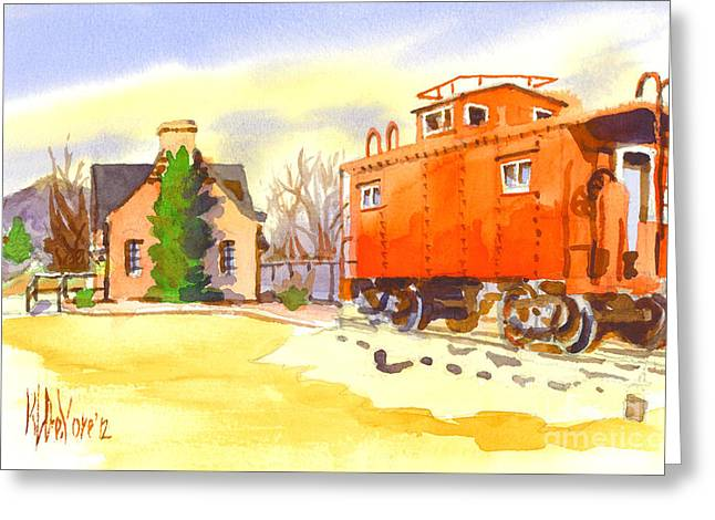 Locations Paintings Greeting Cards - Red Caboose at Whistle Junction Ironton Missouri Greeting Card by Kip DeVore