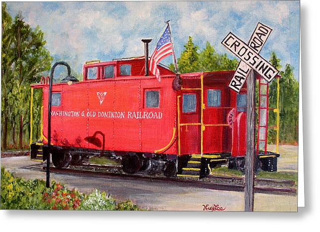 Caboose Paintings Greeting Cards - Red Caboose Greeting Card by Huy Lee