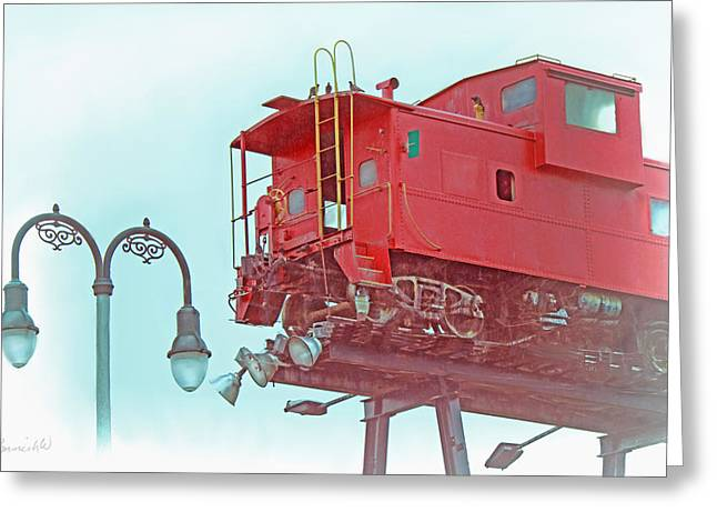 Red Caboose In The Sky2 Greeting Card by Bonnie Willis