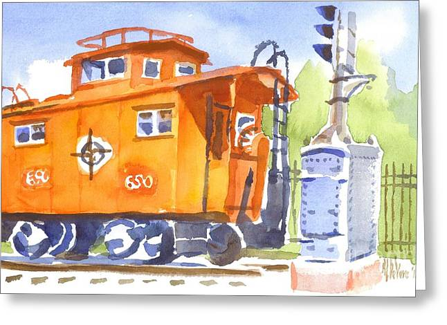 Red Caboose Greeting Cards - Red Caboose with Signal  Greeting Card by Kip DeVore