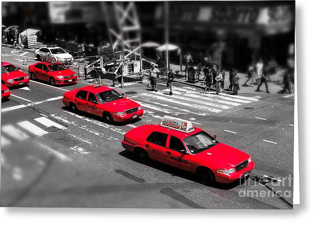 Red Cabs On Time Square Greeting Card by Hannes Cmarits