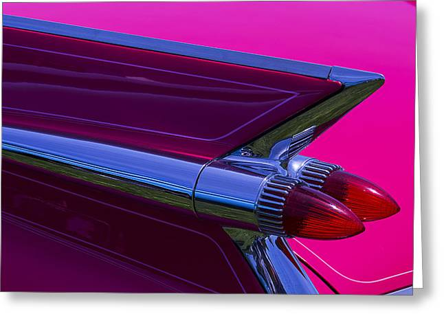Motorized Greeting Cards - Red Caddy Tail Lights Greeting Card by Garry Gay