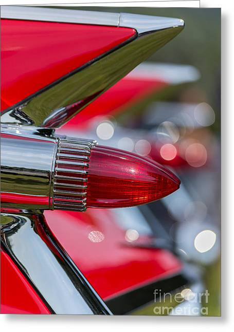 Convention Greeting Cards - Red Cadillac Fins Greeting Card by Edward Fielding