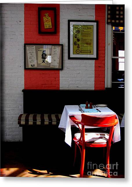 Interior Still Life Photographs Greeting Cards - Red Cafe Greeting Card by Colleen Kammerer