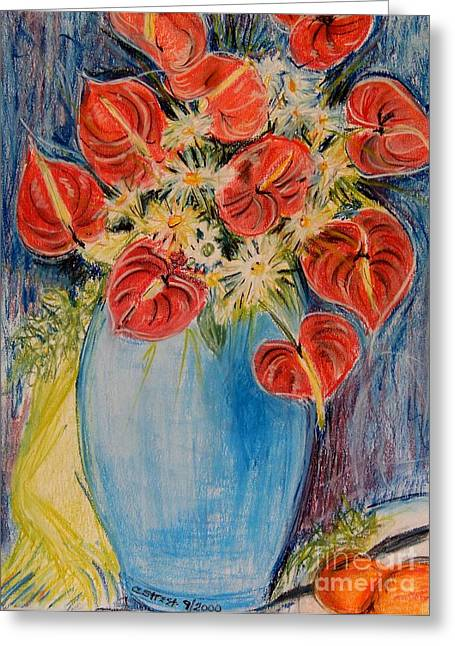 Calla Lily Pastels Greeting Cards - Red Calla Lilies Greeting Card by Caroline Street