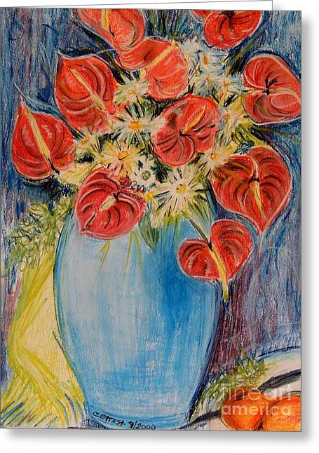 Red Calla Lilies Greeting Card by Caroline Street