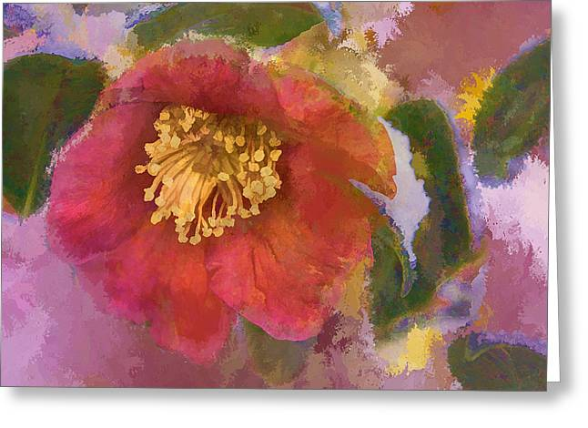 Winter Promise Greeting Cards - Red Camelia in a Winter Coat Greeting Card by Terry Rowe