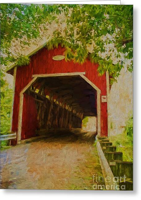 Storybook Mixed Media Greeting Cards - Red Canadian Bridge Greeting Card by Deborah Benoit