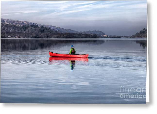 Autumn Digital Art Greeting Cards - Red Canoe Greeting Card by Adrian Evans